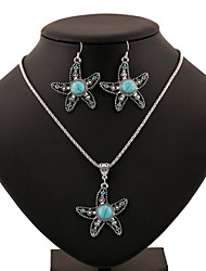 Turquoise Starfish Star Pendant Silver Necklace & Earrings Jewelry Set Mermaid