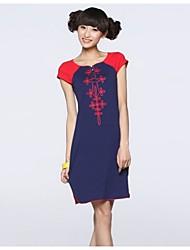 Vestidos ( Algodón )- Casual Redondo Manga Corta para Mujer