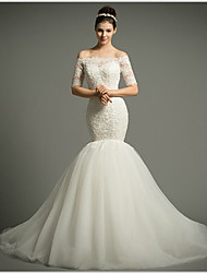 Fit & Flare Court Train Wedding Dress -Off-the-shoulder Tulle