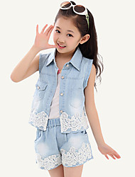 Girl's Summer Micro-elastic Medium Sleeveless Vests Pants Jeans Sets (Denim/Lace)