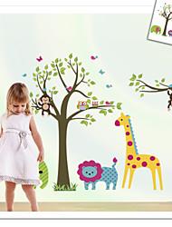 singe éléphant lion zooyoo sticker mural pour chambre d'enfants zooyoo5071 décoratif PVC amovible décalque de mur