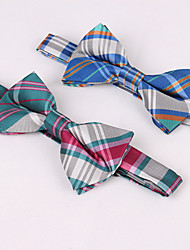 Self Tie Plaid Bow Tie In Greens And Pinks