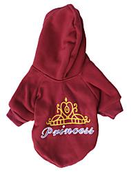 Gatos / Cães Camiseta / Camisola com Capuz Vermelho Roupas para Cães Primavera/Outono Tiaras e Coroas Da Moda