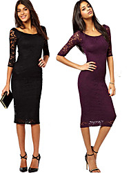 Y&Z Women's Bodycon/Lace Round ¾ Sleeve Dresses (Lace)