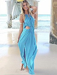 Women's Sexy V  Neck Lace Up Asymmetrical  Beach Dress