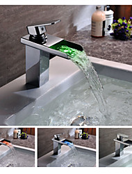 Contemporary Chrome Finish Brass Single Handle One Hole Color Changing LED Waterfall Bathroom Sink Faucet