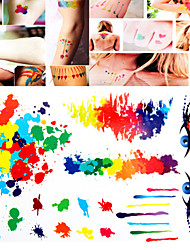 1 PC Tattoo Stickers Watercolor Mixed  for Body Makeup S009