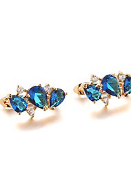 Sjeweler Female Fashion Gold-Plated Blue Zircon Earrings