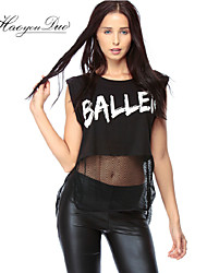 Ronde hals - Netstof/Polyester - Bloem - Vrouwen - T-shirt - Mouwloos