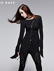 Women's Black/Brown T-shirt , Round Neck Long Sleeve Hole