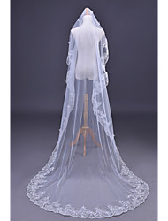 2015 Wedding Veil One-tier Cathedral Veils Lace Applique Sequin Edge