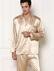 Men Silk Thin Long Sleeve Fashionable Pajama