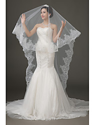 New White  1T Cathedral Trailing Lace Bridal Dress Accessories Veil