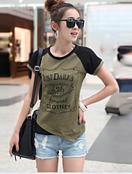 Mulheres Camiseta Decote Canoa Manga Curta Algodão Mulheres