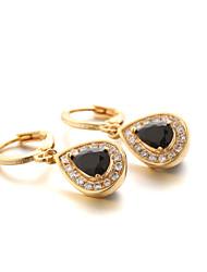 Sjeweler New Female Gold-Plated Black Zircon Pendant Earrings