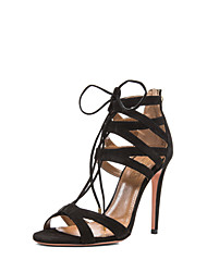 Women's Shoes Suede Stiletto Heel Heels/Gladiator/Ankle Strap/Round Toe SandalsWedding/Outdoor/Office & Career/Party &