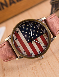 Women's Fashion Diamond Colorful USA Flag Design Quartz Analog Denim Cloth Band Wrist Watch(Assorted Colors) Cool Watches Unique Watches