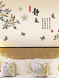 Wall Stickers Wall Decals Style Butterflies Fly Around Flowers PVC Wall Stickers
