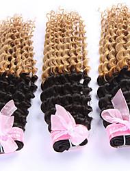 3pcs / lot 8-24inch estensioni dei capelli ombre capelli ricci indiani due tonalità di colore, non trasformati