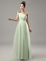 Dress Sheath / Column One Shoulder Floor-length Chiffon with Bow(s)