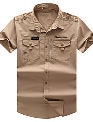 Men's New Fashion Short Sleeve Leisure Cargo Shirt with Wash(100% Cotton)55900