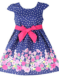 Girls Fashion Dot Flower Print Party Princess Dresses (100% Cotton)