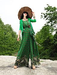 Women's Boho Green Jumpsuits , Beach Strap Flower