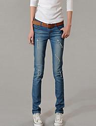 Women's Hole Wear White Light Was Thin Jeans
