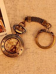 Torre Eiffel de París patrón numérico de bronce romano de la moda de bolsillo antiguo de la vendimia ocasional relojes con la cadena de