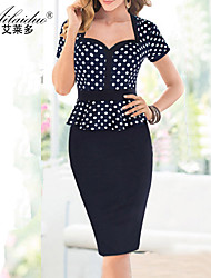 Aold®women's sweetheart neck Short sleeve polka-dot sllim one-piece dress(Spandex/Polyester)
