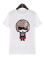Women's Round T-Shirts , Cotton Casual/Cute Short Sleeve PDL
