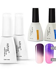Azure 4 Pcs/Lot Soak Off chameleon UV Nail Gel Polish Color Gel Manicure Nail Gel(#22+#32+BASE +TOP)
