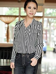 Women's Casual/Work Inelastic Long Sleeve Regular Blouse (Chiffon)