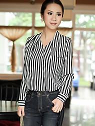 Women's Casual/Work Inelastic Long Sleeve Regular Blouse (Chiffon)