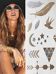 TT Sex Glitter Gold Flash Swallow Feather Pen Tattoo Stickers Temporary Tattoos(1 pc)