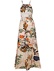 Women's Floral Multi-color Vest , Halter Sleeveless Backless