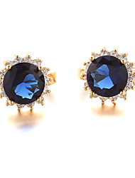 Sjeweler Female Fashion Gold-Plated Big Blue Zircon Round Earrings
