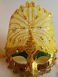 pavão exibido multa partido cauda pena de cor halloween máscara do disfarce amarelo