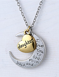 Zinc Alloy Heart and Moon Daughter I Love You to the Moon and Back Necklace