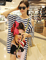 Women's Chiffon/Polyester Sexy Stripe/beauty Print Loose Cover-Ups