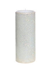 SIMPLUX™ 3*8 Inch Moving Wick White Mosaic Glass with Flameless LED Candle with Timer,Work with 2xC Batteries