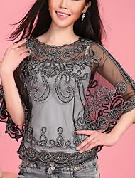 Wedding Wraps Half-Sleeve Orlon/Polyester Hook Flower Ponchos Black