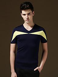 Men's Short Sleeve T-Shirt , Cotton/Lycra Casual/Sport/Plus Sizes Plaids & Checks/Pure