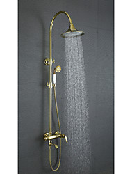 Antique Wall Mounted Rain Shower Handshower Included with  Ceramic Valve Two Handles Three Holes for  Ti-PVD , Shower Faucet