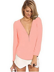 O&M Women's Casual Long Sleeve Tops & Blouses (Chiffon)