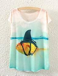 Damen Druck Einfach Lässig/Alltäglich T-shirt,Rundhalsausschnitt Sommer Kurzarm Weiß Dünn