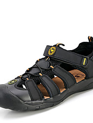 Men's Shoes Casual Leather Sandals Black/Orange/Khaki