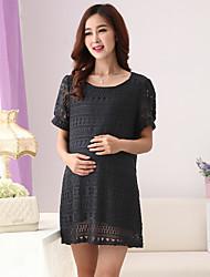Vestido de maternidad Sobre la rodilla Encaje/Ahuecado - Encaje - Escote Redondo Manga Corta
