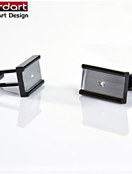 IP Black 316L Stainless Steel Cuff Link with CZ Stone Set for Men