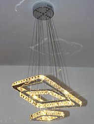 LED Square Pendant Light Chandelier Lighting Transparent Or Amber K9 Crystal Round 3 Rings Ceiling Lamps Lights Fixtures
